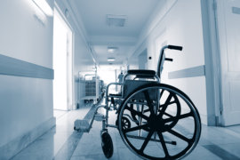 a wheel chair in a hospital